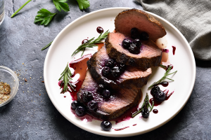 Filet Mignon and Savory Blueberry Sauce